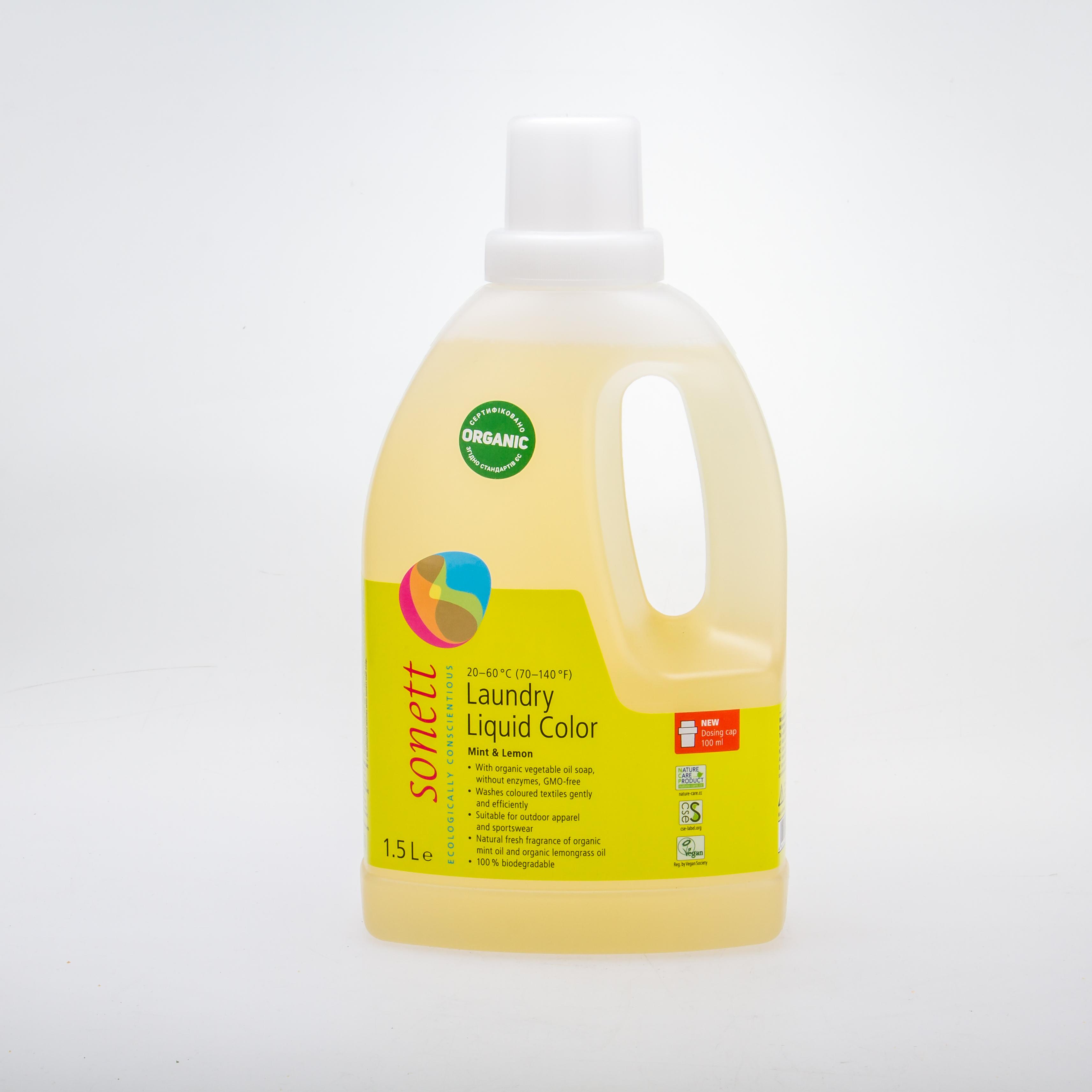 Sonett органічний рідкий пральний засіб для кольорових тканин. Концентрат, 1,5 л - купить в интернет-магазине Юнимед