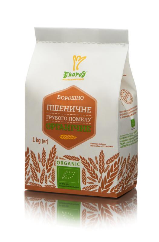 Борошно пшеничне грубого помелу органічне, Екород, 1кг - купить в интернет-магазине Юнимед