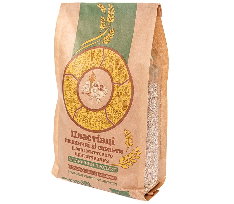 Galeks-Agro  Пластівці пшеничні зі спельти  різані миттєвого приготування, 500 г - купить в интернет-магазине Юнимед