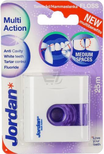 Зубний флос Jordan Multi Action floss(25м) відбілюючий з фтором, попередження зубного каменю - купить в интернет-магазине Юнимед