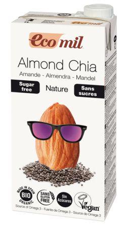 Органічне рослинне молоко з мигдалю з насінням Чіа. Без цукру. 1л - купить в интернет-магазине Юнимед