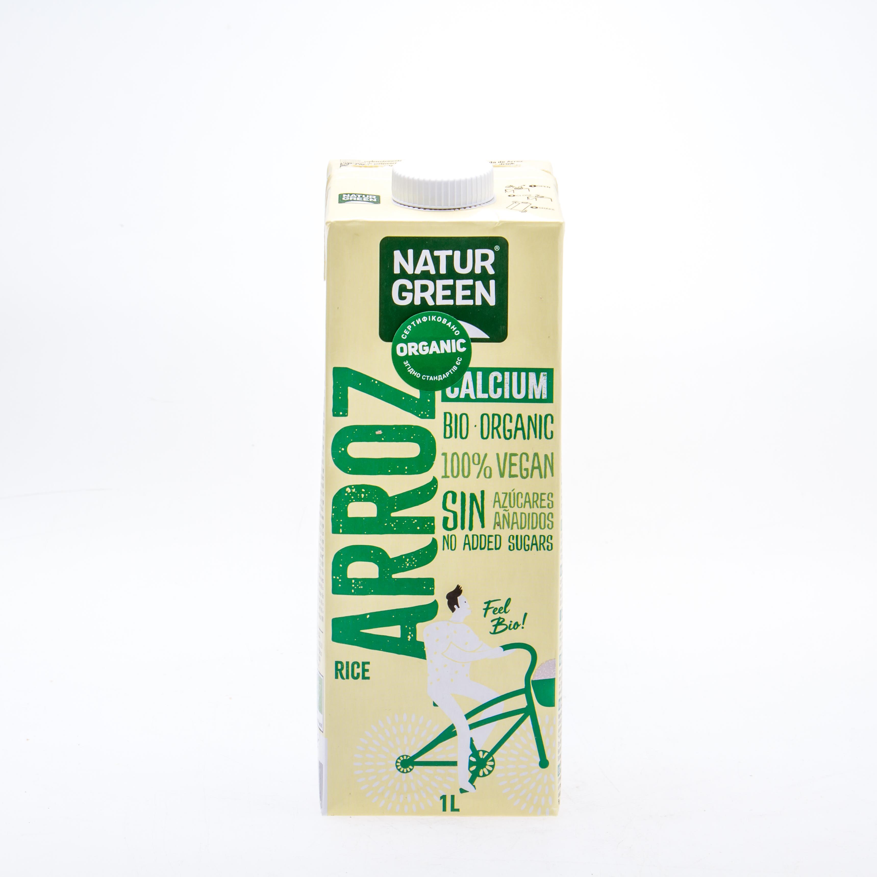 Органічне рослинне молоко з рису з кальцієм без цукру, 1л
