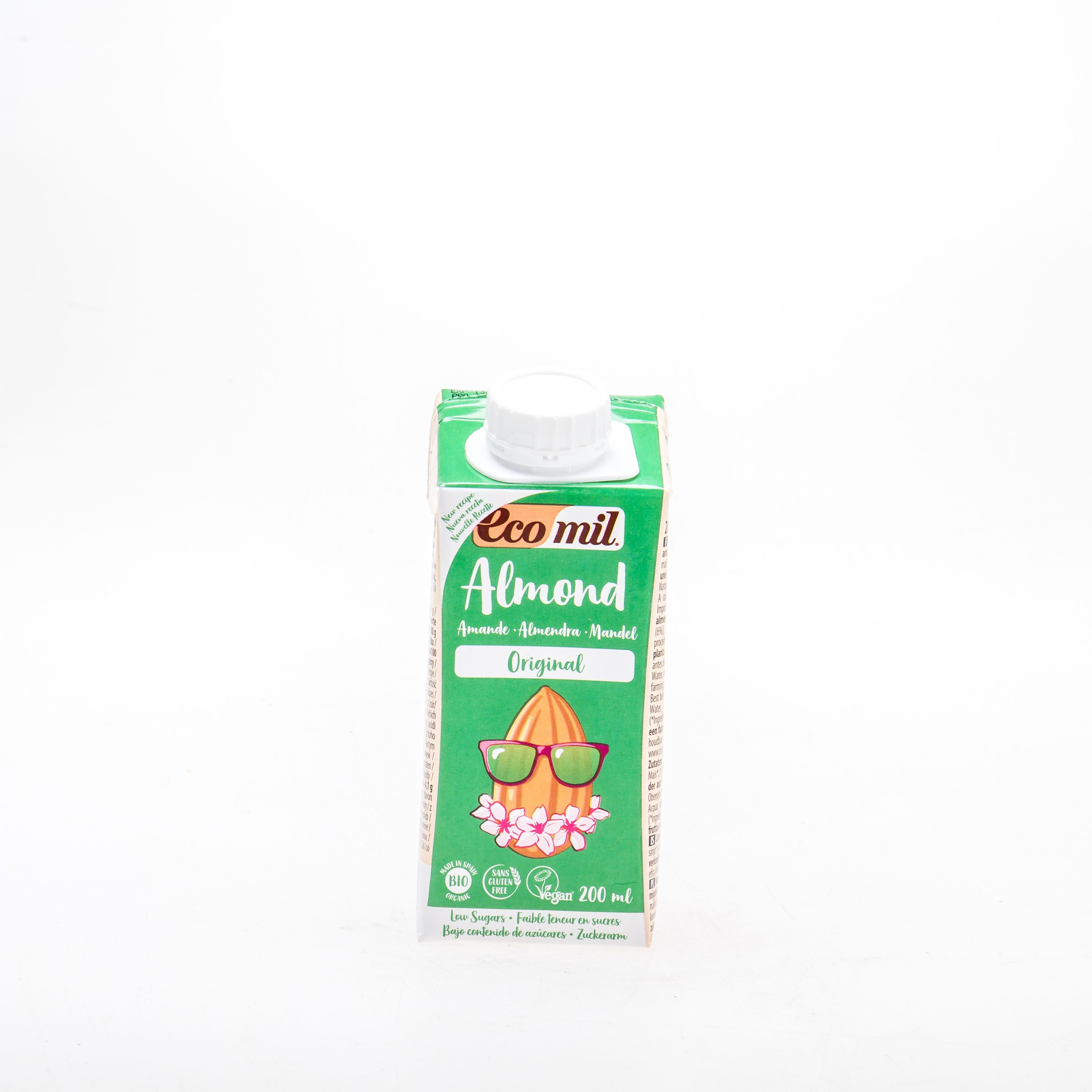Органічне рослинне молоко з мигдалю з сиропом агави, 200 мл