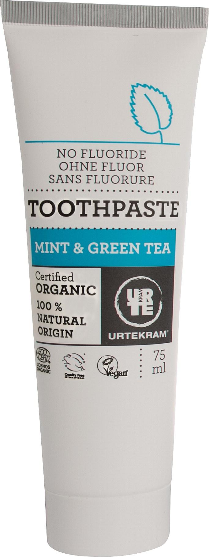 Urtekram Органічна зубна паста Зелений чай/ М'ята. 75 мл - купить в интернет-магазине Юнимед