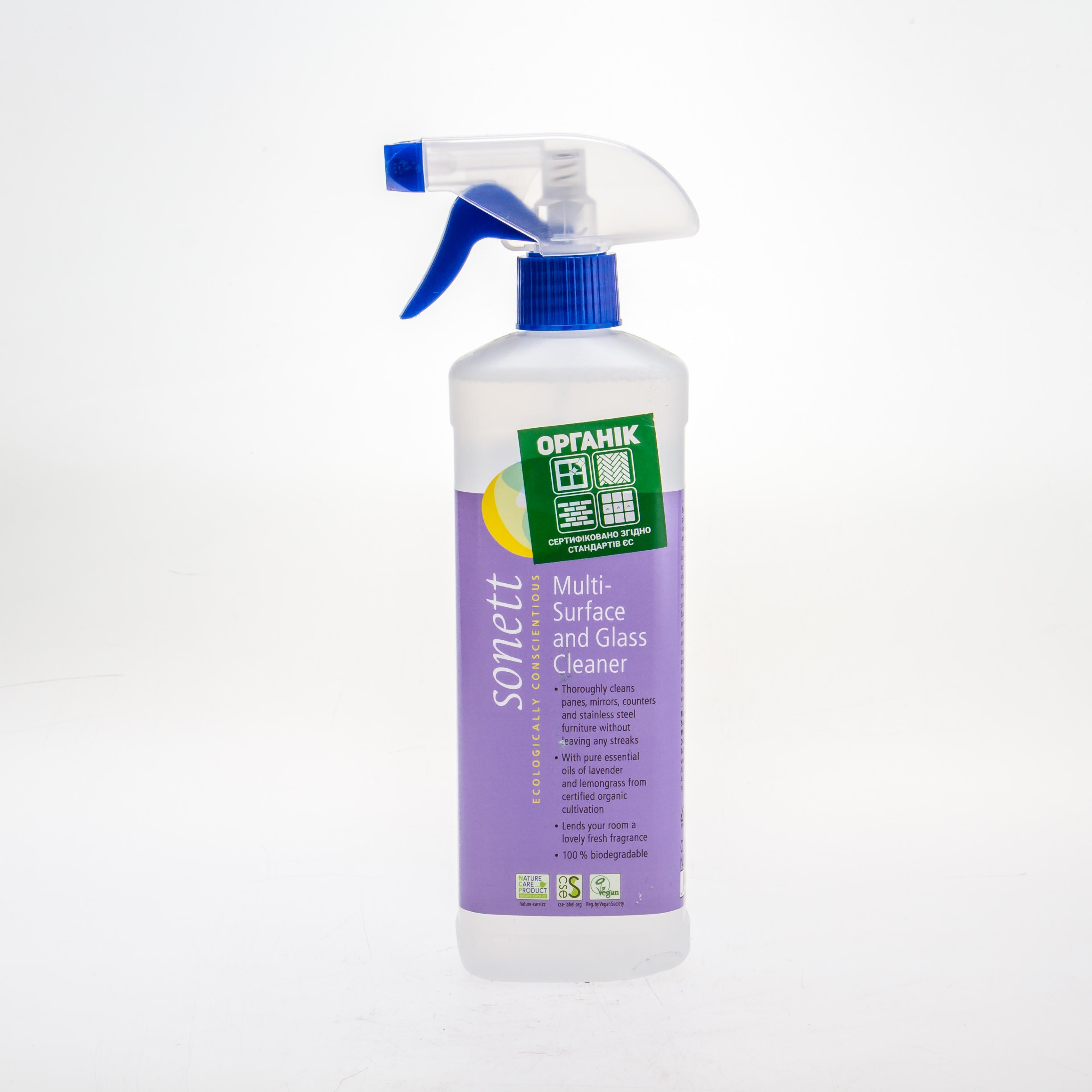 Sonett органічна рідина для миття всіх поверхонь і скла. Концентрат, 500 мл