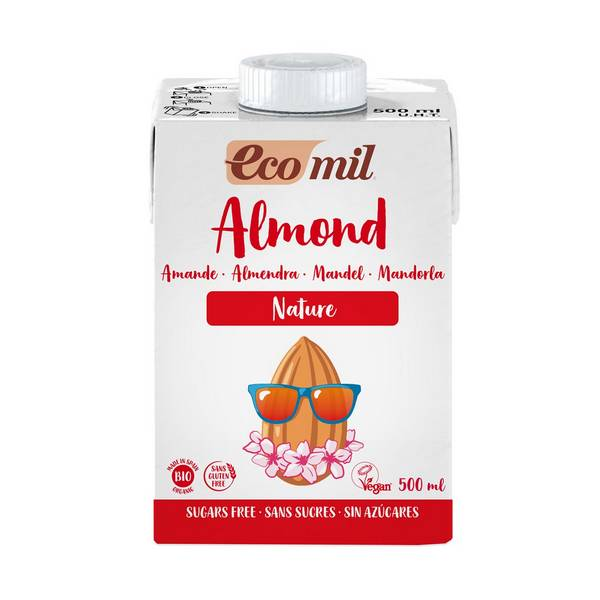Органічне рослинне молоко з мигдалю без цукру, 0,5л - купить в интернет-магазине Юнимед